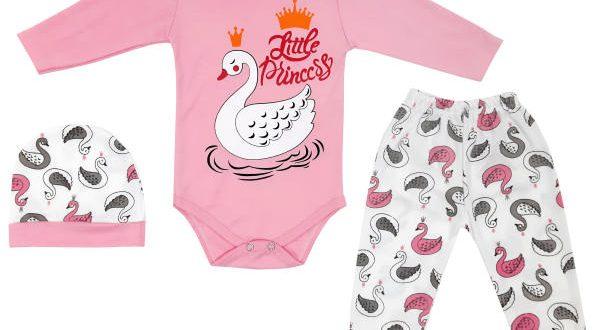 ست 3 تکه لباس نوزادی دخترانه مدل S-GH